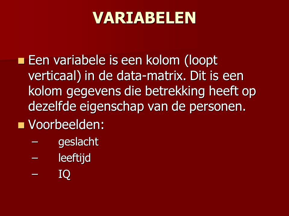 VARIABELEN Een variabele is een kolom (loopt verticaal) in de data-matrix. Dit is een kolom gegevens die betrekking heeft op dezelfde eigenschap van d