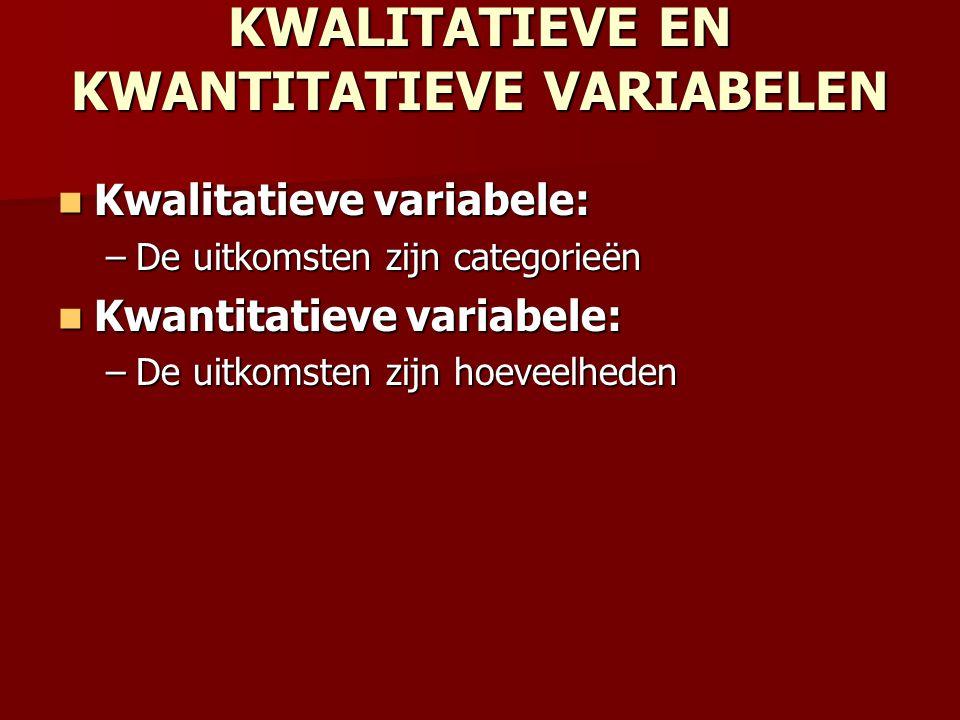 KWALITATIEVE EN KWANTITATIEVE VARIABELEN Kwalitatieve variabele: Kwalitatieve variabele: –De uitkomsten zijn categorieën Kwantitatieve variabele: Kwan