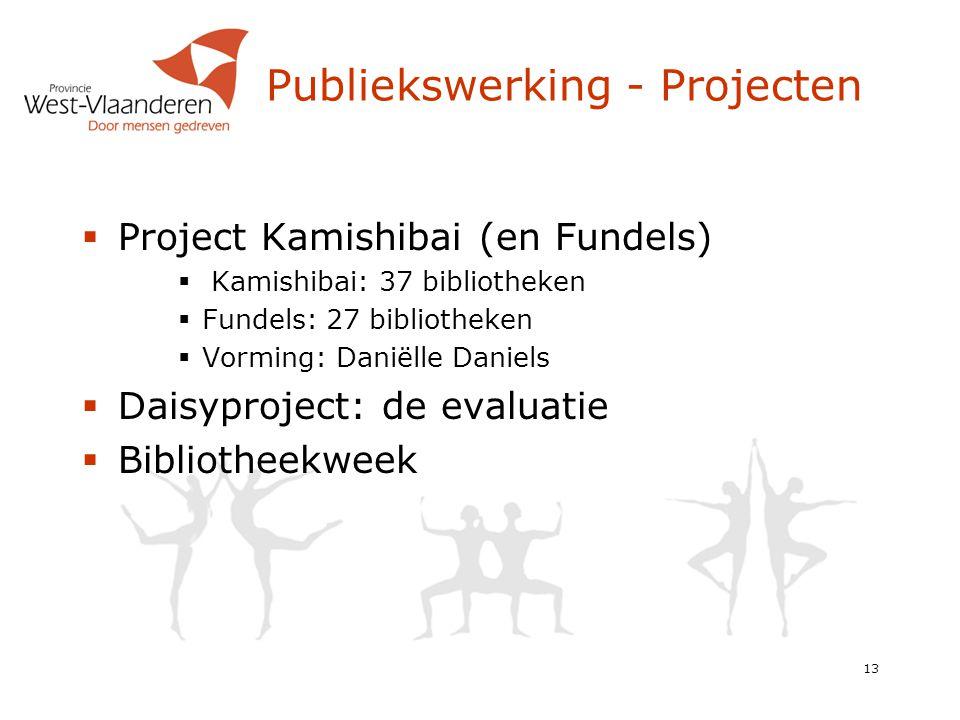Publiekswerking - Projecten  Project Kamishibai (en Fundels)  Kamishibai: 37 bibliotheken  Fundels: 27 bibliotheken  Vorming: Daniëlle Daniels  Daisyproject: de evaluatie  Bibliotheekweek 13