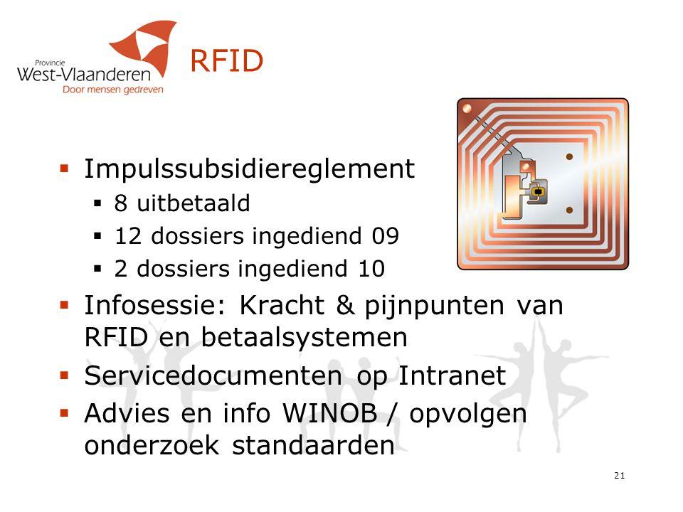 RFID  Impulssubsidiereglement  8 uitbetaald  12 dossiers ingediend 09  2 dossiers ingediend 10  Infosessie: Kracht & pijnpunten van RFID en betaalsystemen  Servicedocumenten op Intranet  Advies en info WINOB / opvolgen onderzoek standaarden 21