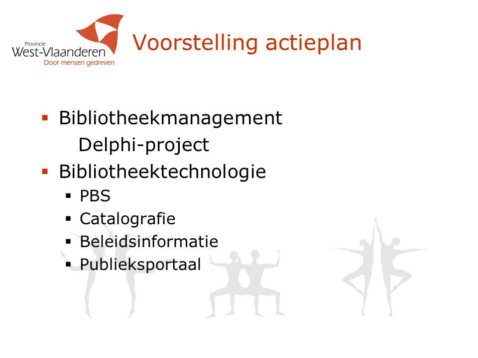 Voorstelling actieplan  Bibliotheekmanagement Delphi-project  Bibliotheektechnologie  PBS  Catalografie  Beleidsinformatie  Publieksportaal