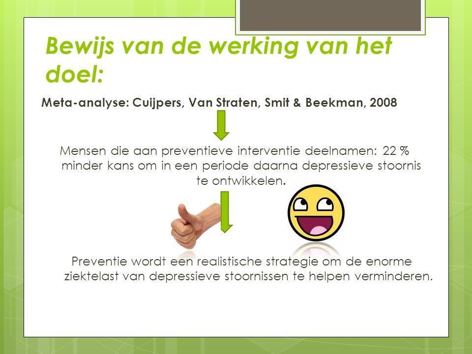 Bewijs van de werking van het doel: Meta-analyse: Cuijpers, Van Straten, Smit & Beekman, 2008 Mensen die aan preventieve interventie deelnamen: 22 % m