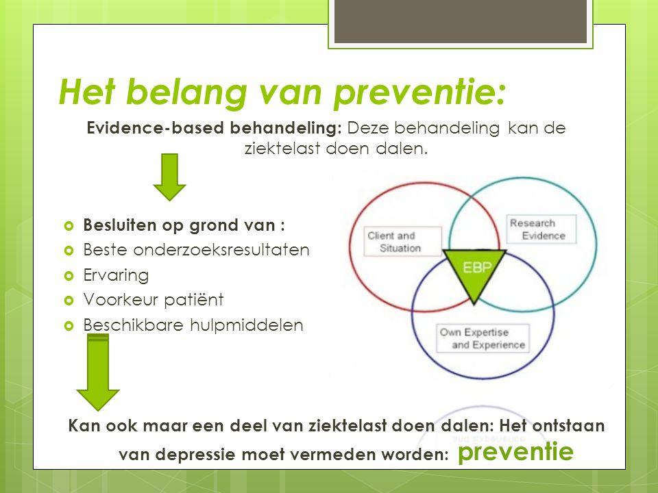 Het belang van preventie: Evidence-based behandeling: Deze behandeling kan de ziektelast doen dalen.  Besluiten op grond van :  Beste onderzoeksresu