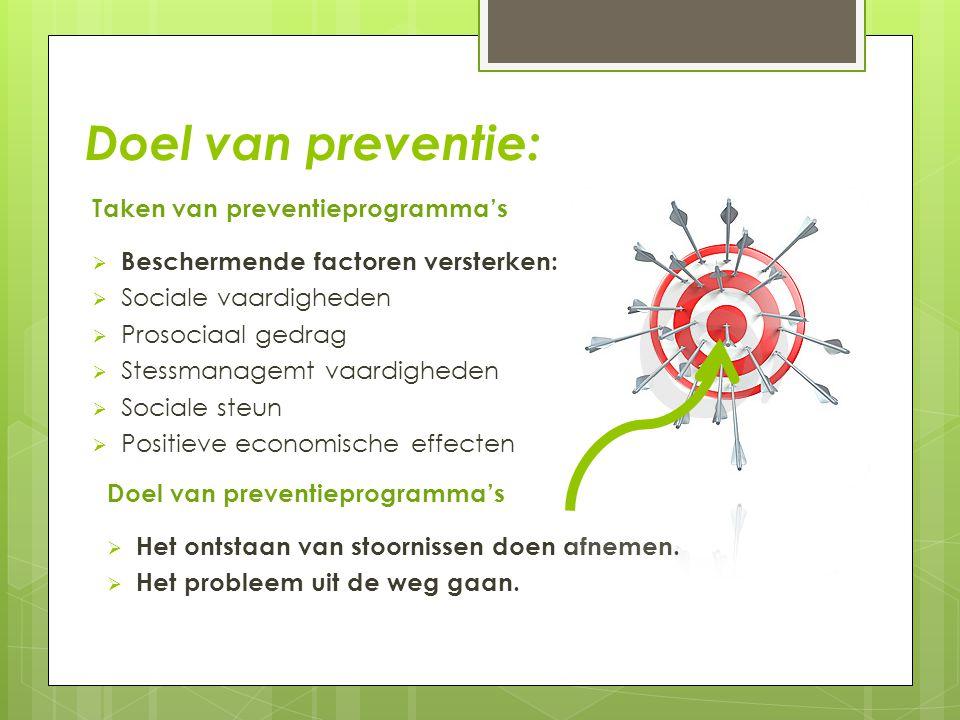 Doel van preventie: Taken van preventieprogramma's  Beschermende factoren versterken:  Sociale vaardigheden  Prosociaal gedrag  Stessmanagemt vaar