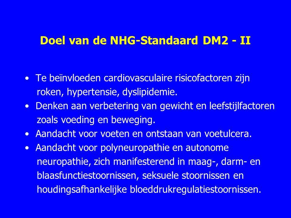 Doel van de NHG-Standaard DM2 - II Te beïnvloeden cardiovasculaire risicofactoren zijn roken, hypertensie, dyslipidemie. Denken aan verbetering van ge