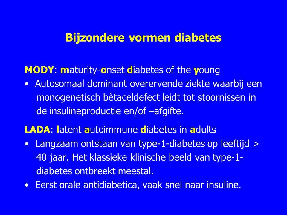 Bijzondere vormen diabetes MODY: maturity-onset diabetes of the young Autosomaal dominant overervende ziekte waarbij een monogenetisch bètaceldefect leidt tot stoornissen in de insulineproductie en/of –afgifte.
