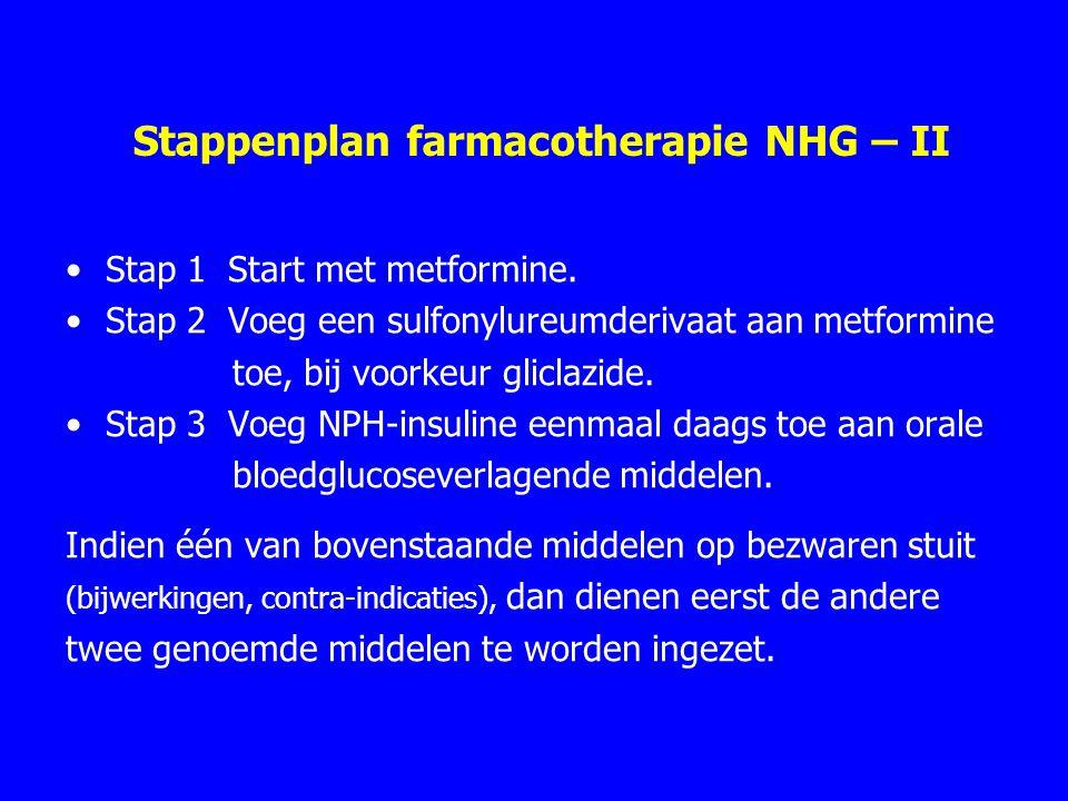 Stappenplan farmacotherapie NHG – II Stap 1 Start met metformine. Stap 2 Voeg een sulfonylureumderivaat aanmetformine toe, bij voorkeur gliclazide. St