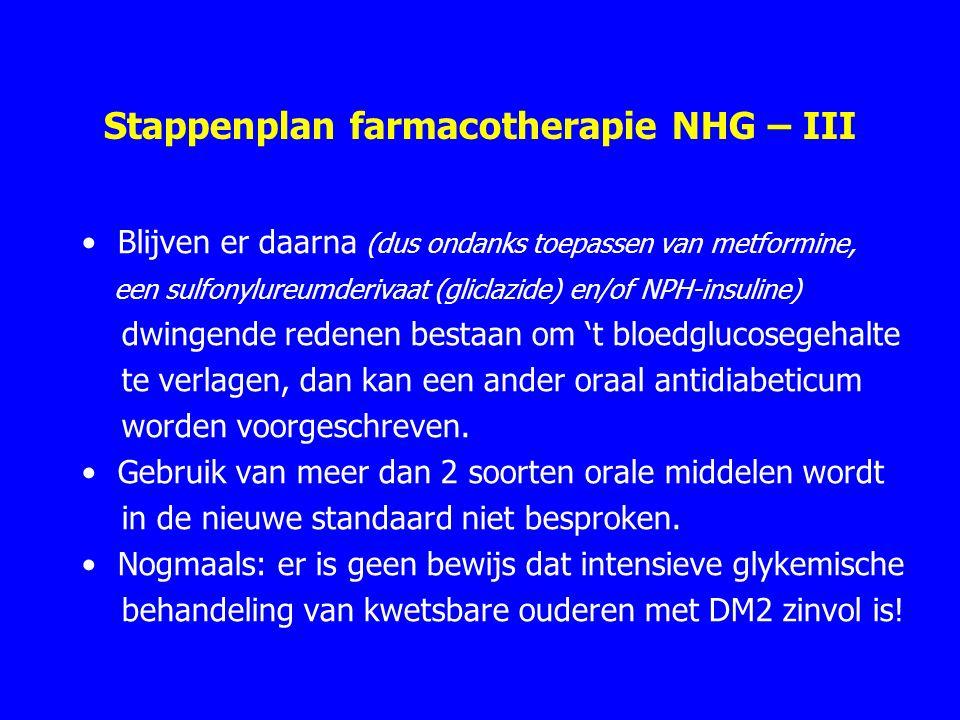 Stappenplan farmacotherapie NHG – III Blijven er daarna (dus ondanks toepassen van metformine, een sulfonylureumderivaat (gliclazide) en/of NPH-insuline) dwingende redenen bestaan om 't bloedglucosegehalte te verlagen, dan kan een ander oraal antidiabeticum worden voorgeschreven.