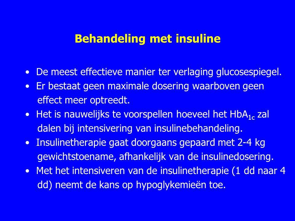 Behandeling met insuline De meest effectieve manier ter verlaging glucosespiegel. Er bestaat geen maximale dosering waarboven geen effect meer optreed