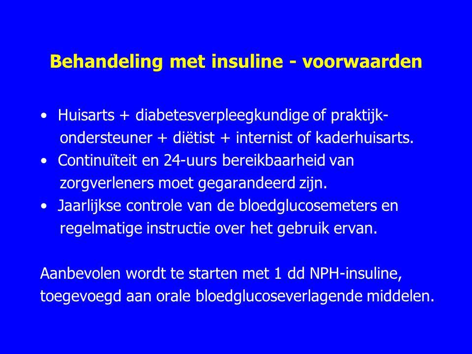 Behandeling met insuline - voorwaarden Huisarts + diabetesverpleegkundige of praktijk- ondersteuner + diëtist + internist of kaderhuisarts.