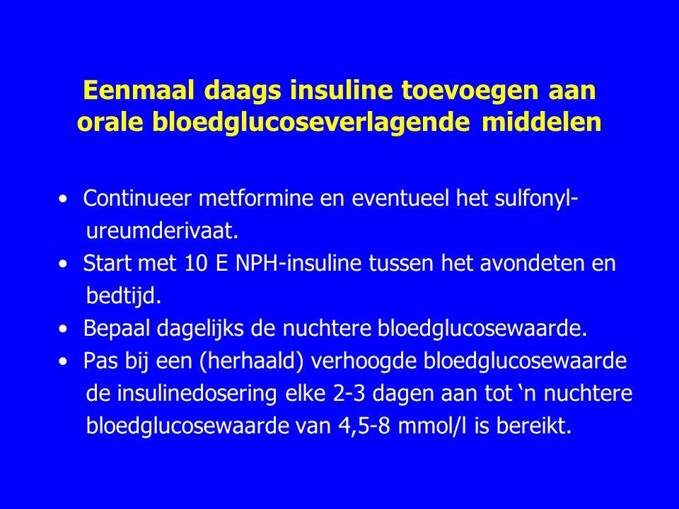 Eenmaal daags insuline toevoegen aan orale bloedglucoseverlagende middelen Continueer metformine en eventueel het sulfonyl- ureumderivaat. Start met 1