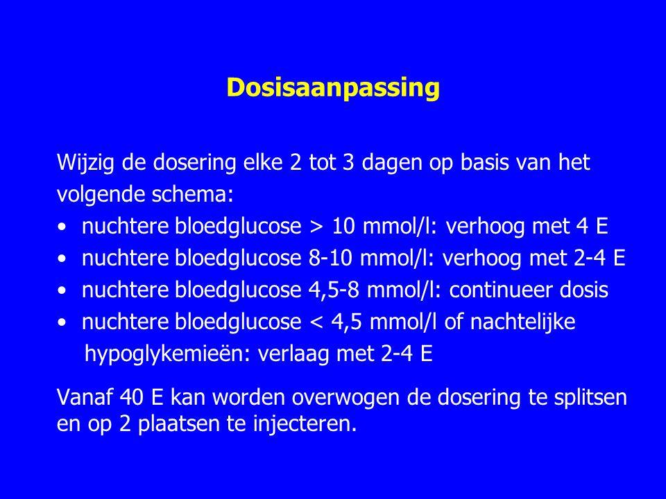 Dosisaanpassing Wijzig de dosering elke 2 tot 3 dagen op basis van het volgende schema: nuchtere bloedglucose > 10 mmol/l: verhoog met 4 E nuchtere bloedglucose 8-10 mmol/l: verhoog met 2-4 E nuchtere bloedglucose 4,5-8 mmol/l: continueer dosis nuchtere bloedglucose < 4,5 mmol/l of nachtelijke hypoglykemieën: verlaag met 2-4 E Vanaf 40 E kan worden overwogen de dosering te splitsen en op 2 plaatsen te injecteren.