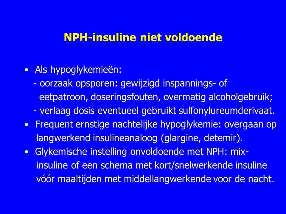 NPH-insuline niet voldoende Als hypoglykemieën: - oorzaak opsporen: gewijzigd inspannings- of eetpatroon, doseringsfouten, overmatig alcoholgebruik; - verlaag dosis eventueel gebruikt sulfonylureumderivaat.