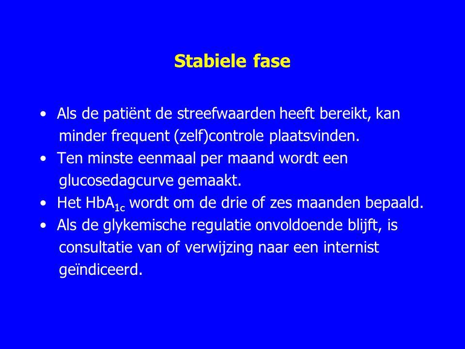 Stabiele fase Als de patiënt de streefwaarden heeft bereikt, kan minder frequent (zelf)controle plaatsvinden. Ten minste eenmaal per maand wordt een g