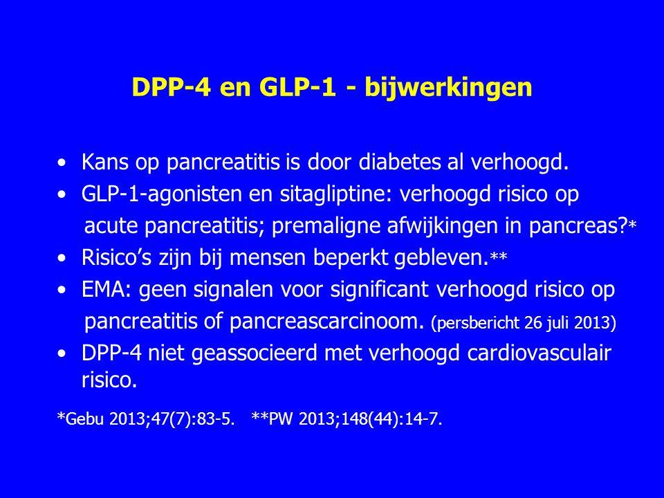 DPP-4 en GLP-1 - bijwerkingen Kans op pancreatitis is door diabetes al verhoogd. GLP-1-agonisten en sitagliptine: verhoogd risico op acute pancreatiti