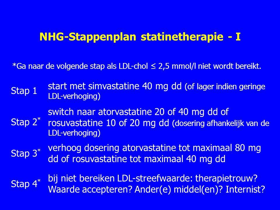 NHG-Stappenplan statinetherapie - I Stap 1 start met simvastatine 40 mg dd (of lager indien geringe LDL-verhoging) Stap 2 * switch naar atorvastatine 20 of 40 mg dd of rosuvastatine 10 of 20 mg dd (dosering afhankelijk van de LDL-verhoging) Stap 3 * verhoog dosering atorvastatine tot maximaal 80 mg dd of rosuvastatine tot maximaal 40 mg dd Stap 4 * bij niet bereiken LDL-streefwaarde: therapietrouw.