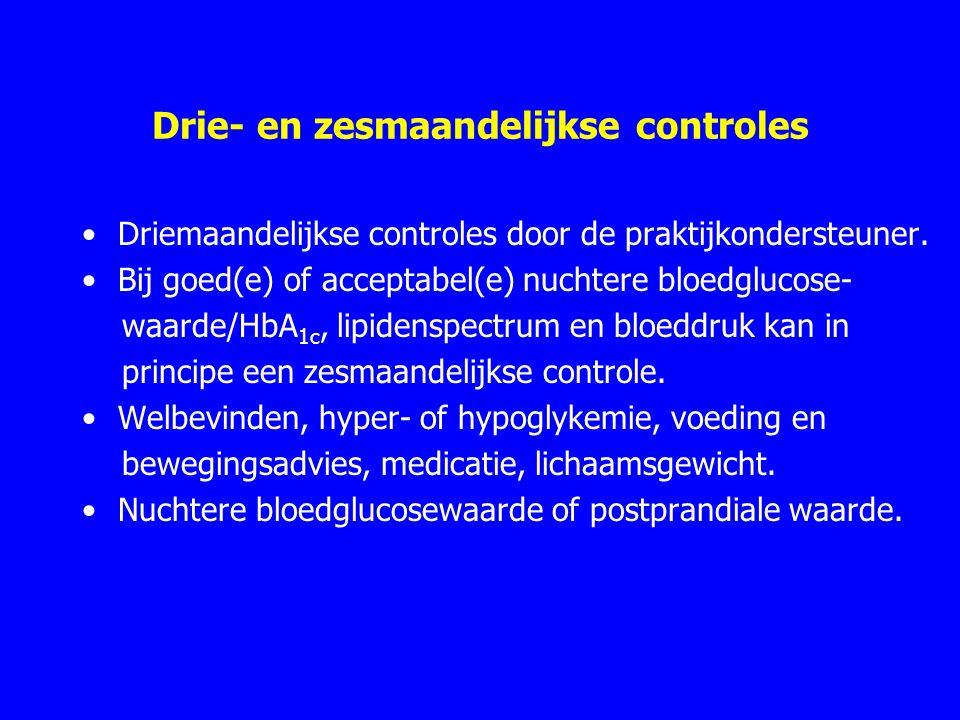 Drie- en zesmaandelijkse controles Driemaandelijkse controles door de praktijkondersteuner. Bij goed(e) of acceptabel(e) nuchtere bloedglucose- waarde