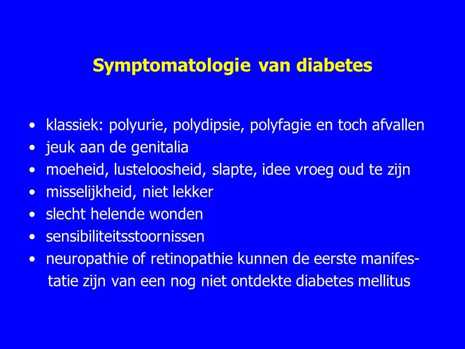 Symptomatologie van diabetes klassiek: polyurie, polydipsie, polyfagie en toch afvallen jeuk aan de genitalia moeheid, lusteloosheid, slapte, idee vroeg oud te zijn misselijkheid, niet lekker slecht helende wonden sensibiliteitsstoornissen neuropathie of retinopathie kunnen de eerste manifes- tatie zijn van een nog niet ontdekte diabetes mellitus