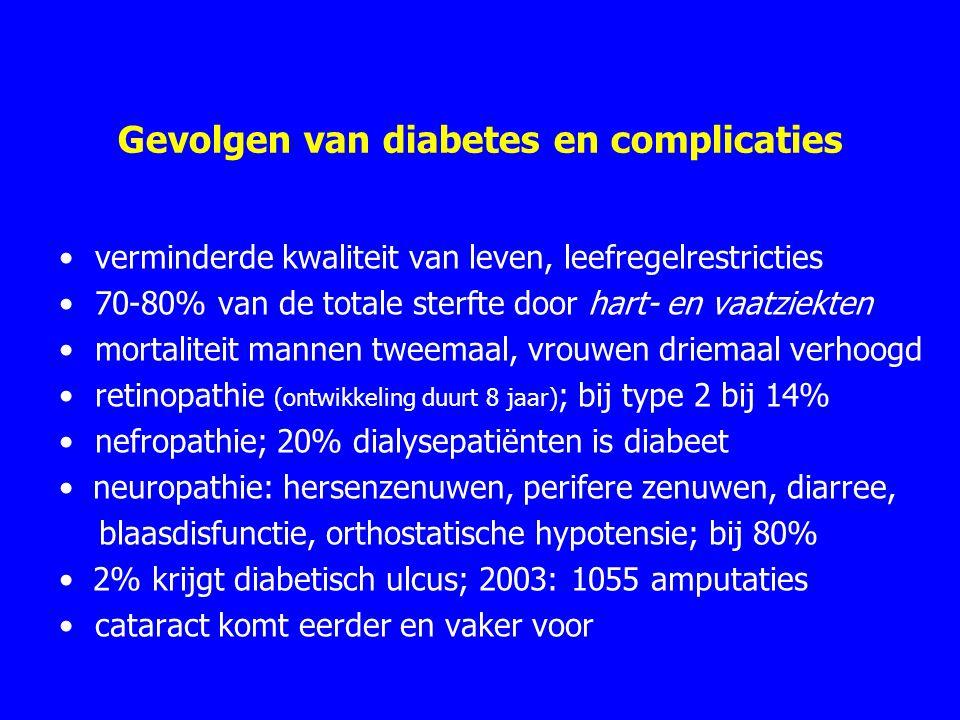 Gevolgen van diabetes en complicaties verminderde kwaliteit van leven, leefregelrestricties 70-80% van de totale sterfte door hart- en vaatziekten mortaliteit mannen tweemaal, vrouwen driemaal verhoogd retinopathie (ontwikkeling duurt 8 jaar) ; bij type 2 bij 14% nefropathie; 20% dialysepatiënten is diabeet neuropathie: hersenzenuwen, perifere zenuwen, diarree, blaasdisfunctie, orthostatische hypotensie; bij 80% 2% krijgt diabetisch ulcus; 2003: 1055 amputaties cataract komt eerder en vaker voor
