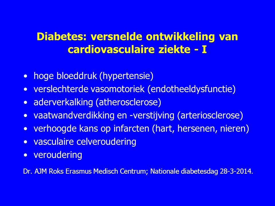 Diabetes: versnelde ontwikkeling van cardiovasculaire ziekte - I hoge bloeddruk (hypertensie) verslechterde vasomotoriek (endotheeldysfunctie) aderverkalking (atherosclerose) vaatwandverdikking en -verstijving (arteriosclerose) verhoogde kans op infarcten (hart, hersenen, nieren) vasculaire celveroudering veroudering Dr.