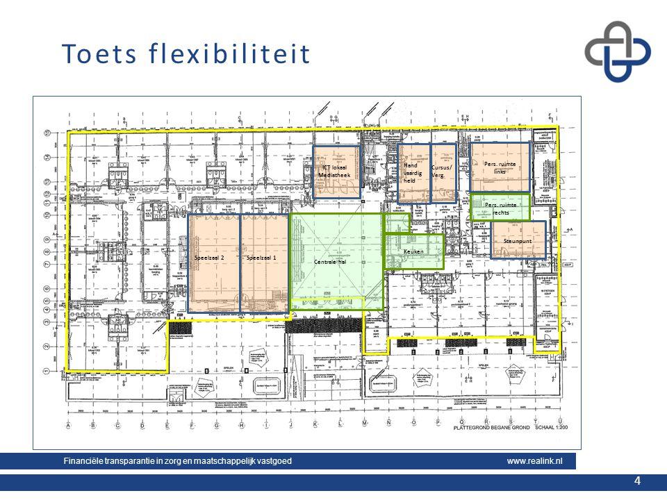 Financiële transparantie in zorg en maatschappelijk vastgoed www.realink.nl 4 4 Toets flexibiliteit Speelzaal 2Speelzaal 1 ICT lokaal Mediatheek Steun