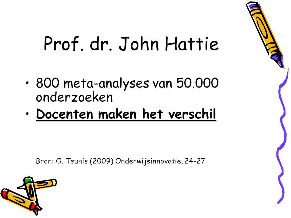 Prof. dr. John Hattie 800 meta-analyses van 50.000 onderzoeken Docenten maken het verschil Bron: O. Teunis (2009) Onderwijsinnovatie, 24-27
