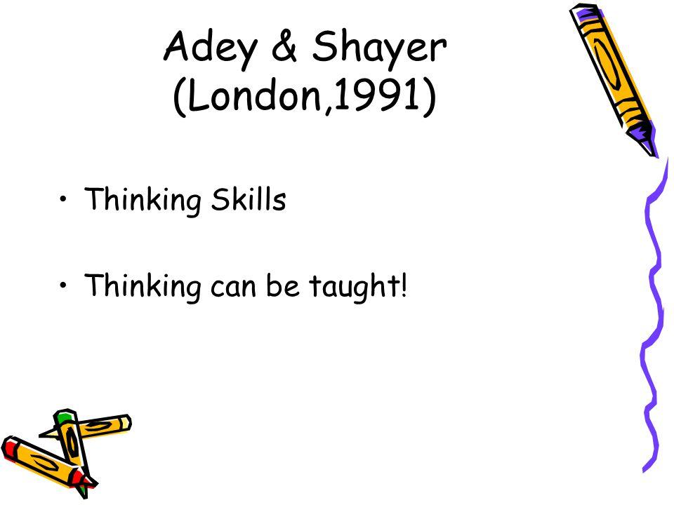 Adey & Shayer (London,1991) Thinking Skills Thinking can be taught!