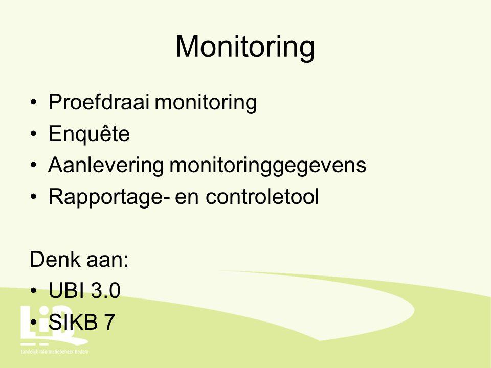 Monitoring Proefdraai monitoring Enquête Aanlevering monitoringgegevens Rapportage- en controletool Denk aan: UBI 3.0 SIKB 7