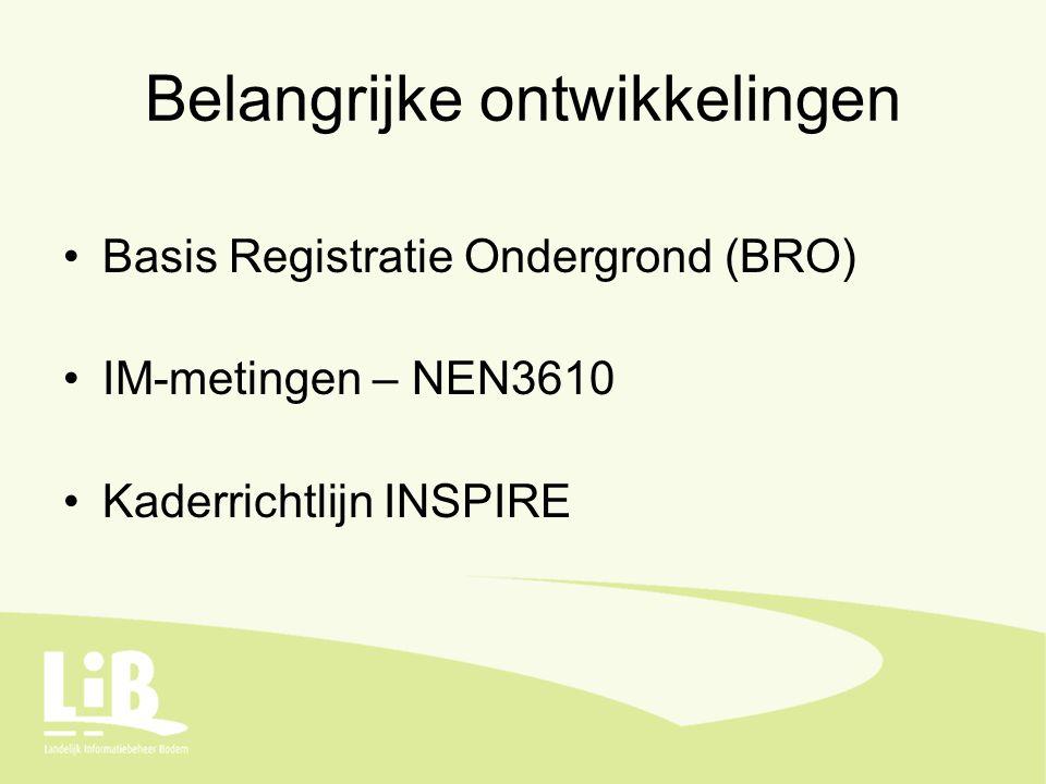 Belangrijke ontwikkelingen Basis Registratie Ondergrond (BRO) IM-metingen – NEN3610 Kaderrichtlijn INSPIRE