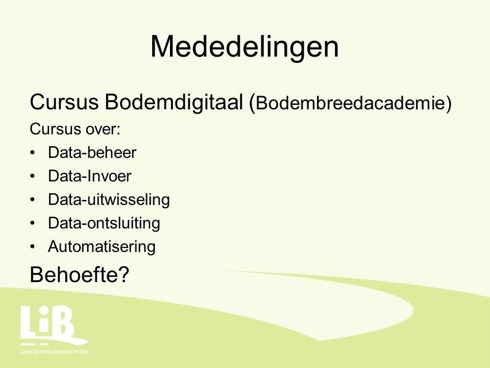 Mededelingen Cursus Bodemdigitaal ( Bodembreedacademie) Cursus over: Data-beheer Data-Invoer Data-uitwisseling Data-ontsluiting Automatisering Behoefte?