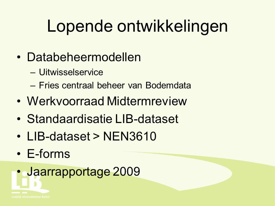 Lopende ontwikkelingen Databeheermodellen –Uitwisselservice –Fries centraal beheer van Bodemdata Werkvoorraad Midtermreview Standaardisatie LIB-dataset LIB-dataset > NEN3610 E-forms Jaarrapportage 2009