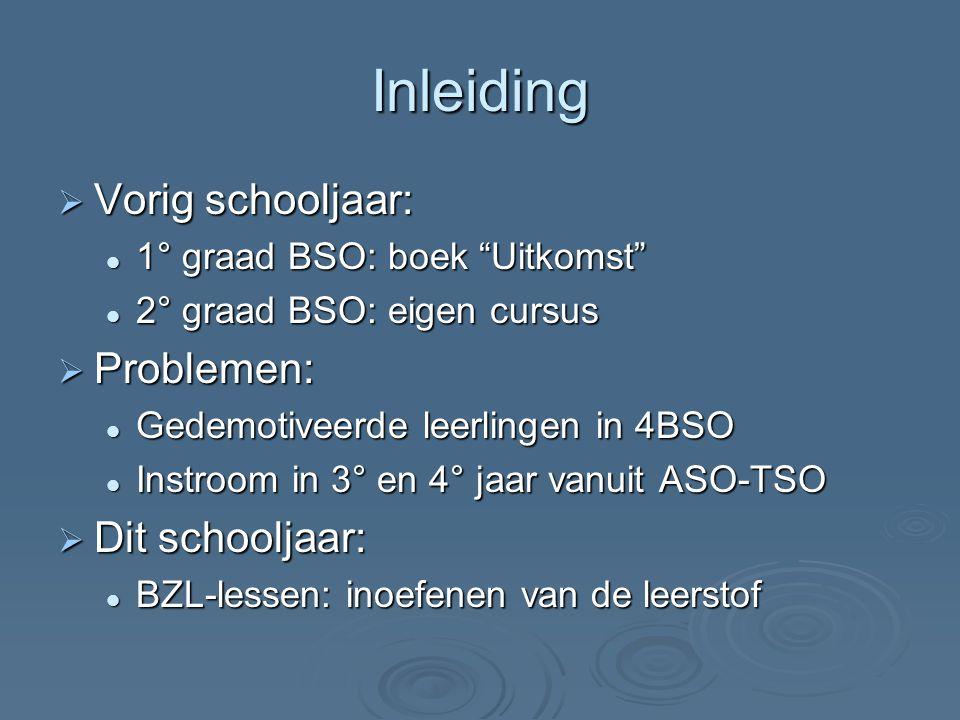 """Inleiding  Vorig schooljaar: 1° graad BSO: boek """"Uitkomst"""" 1° graad BSO: boek """"Uitkomst"""" 2° graad BSO: eigen cursus 2° graad BSO: eigen cursus  Prob"""
