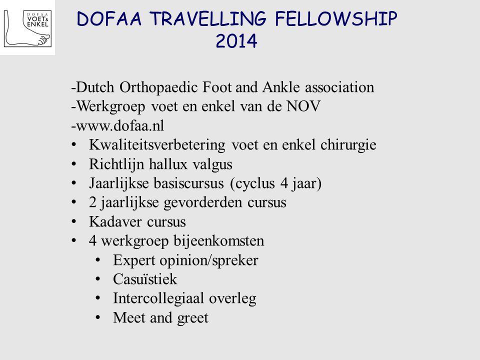 DOFAA TRAVELLING FELLOWSHIP 2014 -Dutch Orthopaedic Foot and Ankle association -Werkgroep voet en enkel van de NOV -www.dofaa.nl Kwaliteitsverbetering