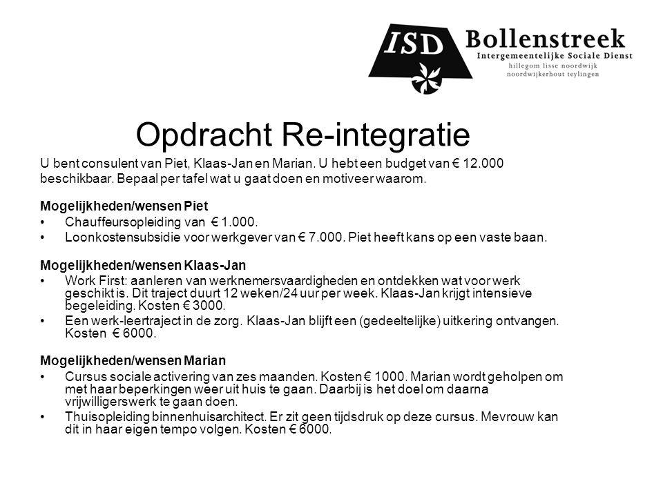 Opdracht Re-integratie U bent consulent van Piet, Klaas-Jan en Marian.