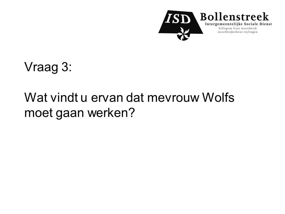Vraag 3: Wat vindt u ervan dat mevrouw Wolfs moet gaan werken