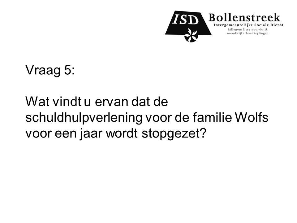 Vraag 5: Wat vindt u ervan dat de schuldhulpverlening voor de familie Wolfs voor een jaar wordt stopgezet