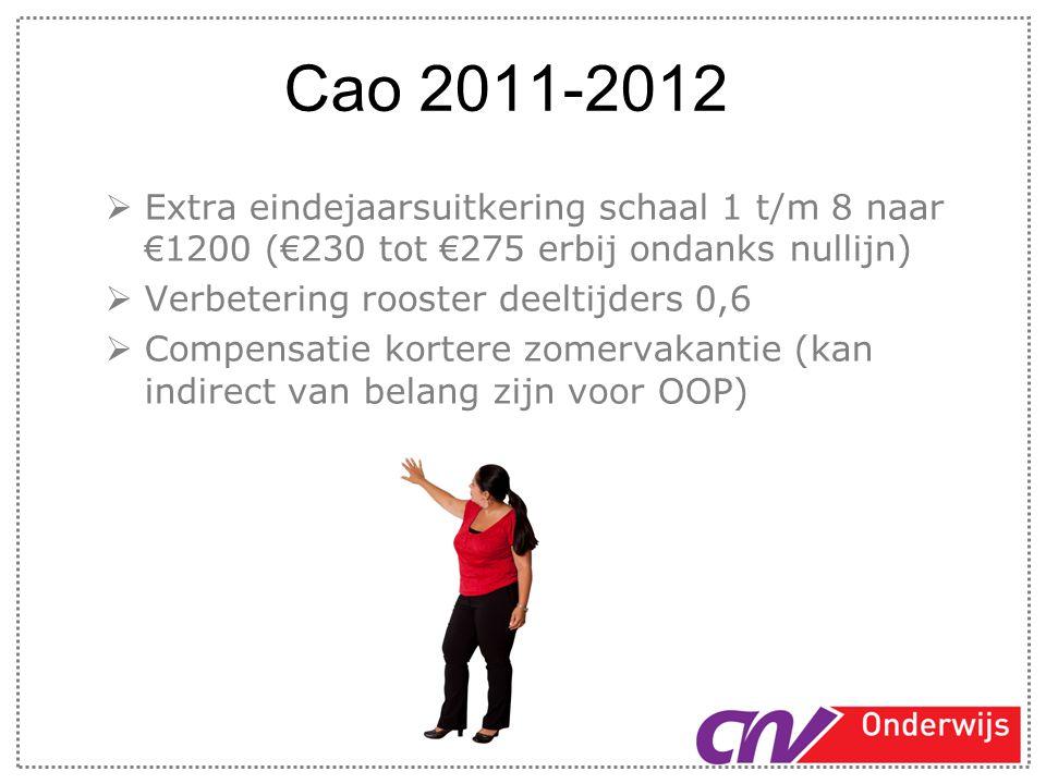 Cao 2011-2012  Extra eindejaarsuitkering schaal 1 t/m 8 naar € 1200 ( € 230 tot € 275 erbij ondanks nullijn)  Verbetering rooster deeltijders 0,6 