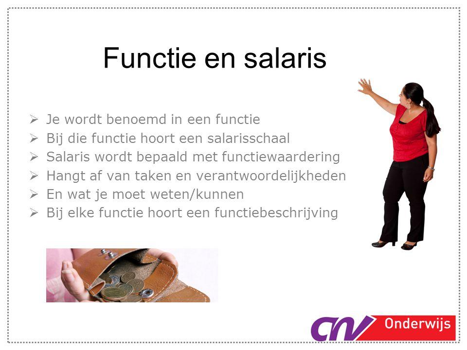 Functie en salaris  Je wordt benoemd in een functie  Bij die functie hoort een salarisschaal  Salaris wordt bepaald met functiewaardering  Hangt a