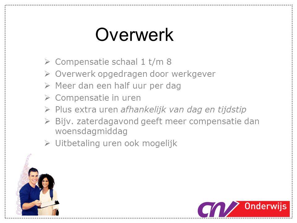 Overwerk  Compensatie schaal 1 t/m 8  Overwerk opgedragen door werkgever  Meer dan een half uur per dag  Compensatie in uren  Plus extra uren afh