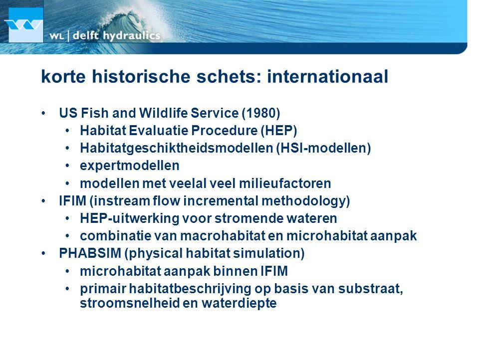 korte historische schets: internationaal US Fish and Wildlife Service (1980) Habitat Evaluatie Procedure (HEP) Habitatgeschiktheidsmodellen (HSI-modellen) expertmodellen modellen met veelal veel milieufactoren IFIM (instream flow incremental methodology) HEP-uitwerking voor stromende wateren combinatie van macrohabitat en microhabitat aanpak PHABSIM (physical habitat simulation) microhabitat aanpak binnen IFIM primair habitatbeschrijving op basis van substraat, stroomsnelheid en waterdiepte