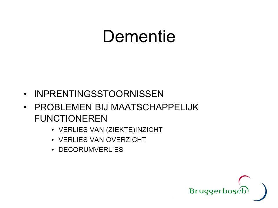 Dementie INPRENTINGSSTOORNISSEN PROBLEMEN BIJ MAATSCHAPPELIJK FUNCTIONEREN VERLIES VAN (ZIEKTE)INZICHT VERLIES VAN OVERZICHT DECORUMVERLIES