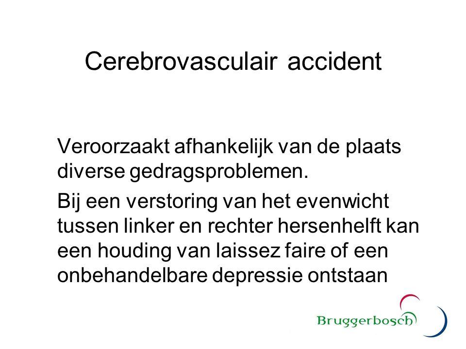 Cerebrovasculair accident Veroorzaakt afhankelijk van de plaats diverse gedragsproblemen. Bij een verstoring van het evenwicht tussen linker en rechte