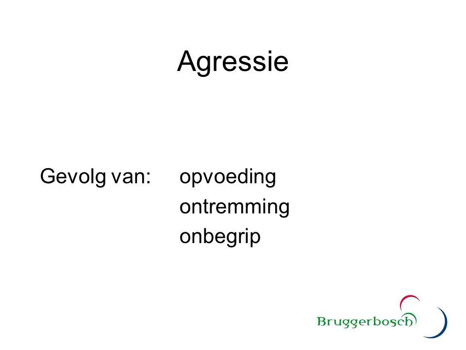 Agressie Gevolg van:opvoeding ontremming onbegrip