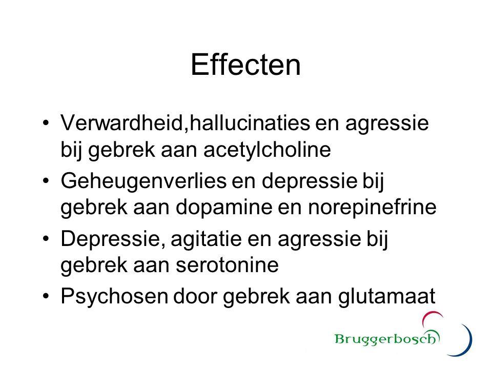 Effecten Verwardheid,hallucinaties en agressie bij gebrek aan acetylcholine Geheugenverlies en depressie bij gebrek aan dopamine en norepinefrine Depr