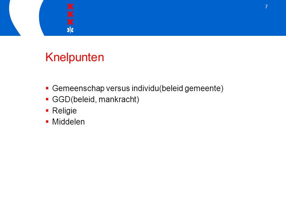 7 Knelpunten  Gemeenschap versus individu(beleid gemeente)  GGD(beleid, mankracht)  Religie  Middelen