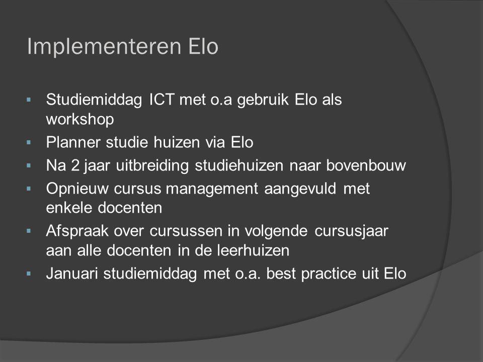 Implementeren Elo  Studiemiddag ICT met o.a gebruik Elo als workshop  Planner studie huizen via Elo  Na 2 jaar uitbreiding studiehuizen naar bovenb