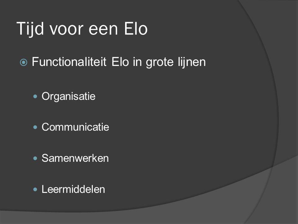 Tijd voor een Elo  Functionaliteit Elo in grote lijnen Organisatie Communicatie Samenwerken Leermiddelen