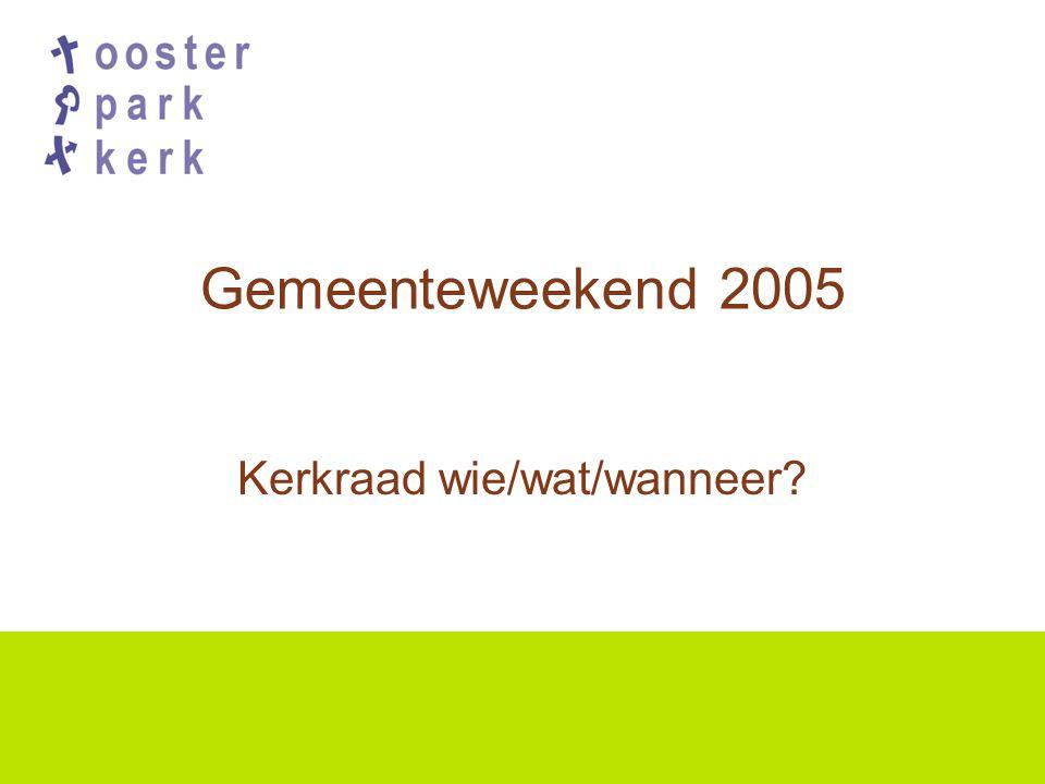 Gemeenteweekend 2005 Kerkraad wie/wat/wanneer?