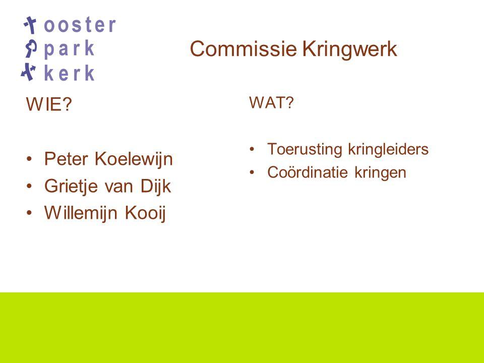 Commissie Kringwerk WIE. Peter Koelewijn Grietje van Dijk Willemijn Kooij WAT.