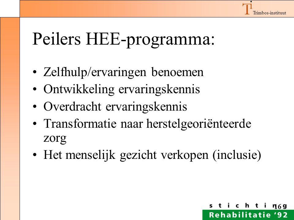 Trimbos-instituut 16 Peilers HEE-programma: Zelfhulp/ervaringen benoemen Ontwikkeling ervaringskennis Overdracht ervaringskennis Transformatie naar he